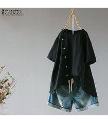 zanzea ocasional de las mujeres camiseta de manga corta top del llano asimétrico básico más el tamaño de la blusa -negro
