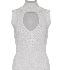 manning cartell v-neck ribbed knit vest - grey