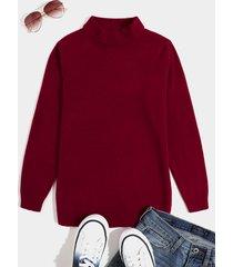 hombres otoño invierno moda cómodo suéter informal de medio cuello alto