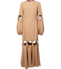 camel loop strap cut out dress neutral