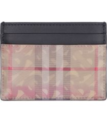 burberry logo detail leather card holder