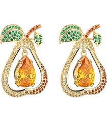 14k yellow goldplated & cubic zirconia pear fruit drop earrings