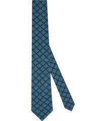 gucci gg check-pattern organic-wool tie - blue