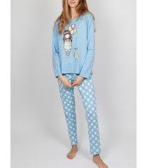 pyjama's / nachthemden admas pjama's broek met lange mouwen i wens santoro blauw adma's