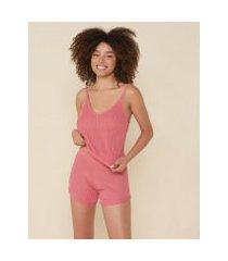 amaro feminino conjunto pijama curto tricot, rosa