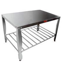 mesa industrial bigolar 190x90cm com chapa 2.00mm inox