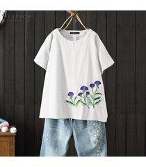 zanzea verano de las mujeres de manga corta bordado de la blusa causal tapas flojas camisas plus -blanco