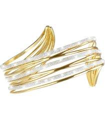 bracciale bangle medium in ottone dorato e glitter per donna