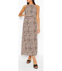 leopard print high neck maxi dress, brown