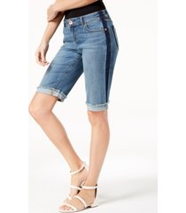 i.n.c. curvy-fit contrast-trim cuffed denim shorts, created for macy's