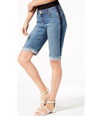 inc contrast-trim cuffed denim shorts, created for macy's