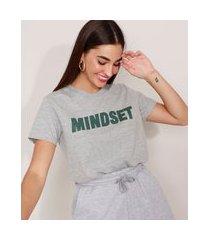 t-shirt manga curta decote redondo mindset cinza mescla