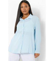 plus oversized blouse, light blue