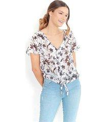 """blusa de estampado floral a blanco y negro, cuello en """"v"""" ,  manga corta color-multicolor-talla-xl"""
