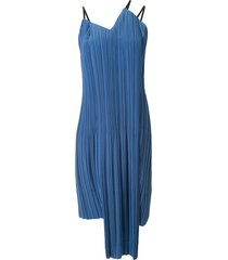 akira naka asymmetric pleated dress - blue