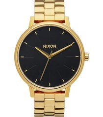 nixon 'the kensington' round bracelet watch, 37mm in gold/black at nordstrom