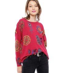 sweater desigual fucsia - calce holgado