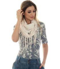 blusa ficalinda meia manga decote redondo feminina