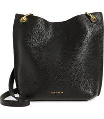 ted baker london mini holiiee leather crossbody bag - black