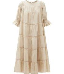 paradis tiered cotton-voile midi dress