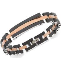 sutton by rhona sutton men's tri-tone stainless steel link bracelet
