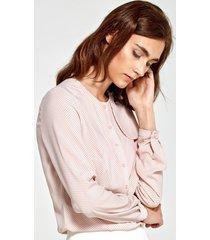 bluzka z ozdobną klapą po lewej stronie w różowe kropki