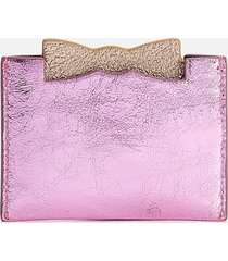 ted baker women's mellan slotted bow pull out mirror card holder - pink