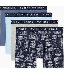 tommy hilfiger men's cotton stretch boxer brief 4pk vintage indigo/gray heather/sailboat print on navy/aquamarine - xxl