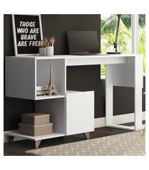 mesa estante be mobiliário aurora 2 nichos 1 porta branca