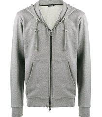balmain velour logo hoodie - grey