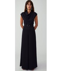 black o ring belt jumpsuit