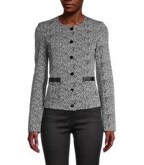karl lagerfeld paris women's tweed jacket - black - size 6
