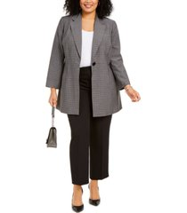 le suit plus size glen plaid pantsuit
