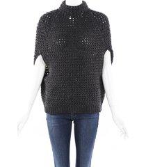 brunello cucinelli sequin cashmere chunky knit cape gray sz: l