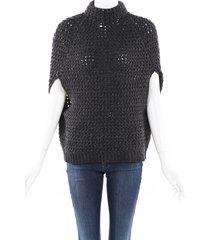 brunello cucinelli sequin cashmere chunky knit cape