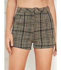 yoins shorts negros de cintura alta a cuadros con bolsillos laterales