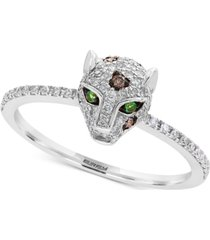 effy diamond (1/3 ct. t.w.) & tsavorite accent panther statement ring in 14k white gold