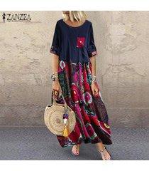 zanzea vestido sin mangas de verano para mujer camisa larga tops blusa vestido de camisa vestido a media pierna -azul marino