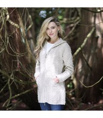 hooded irish aran zipper coat beige medium