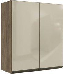 armário aéreo cozinha 80 cm maxxi 2 portas com vidro nogal - kappesberg