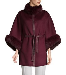 dyed fox fur-trimmed cashmere blend cape