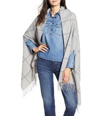 women's madewell windowpane cape scarf, size one size - grey