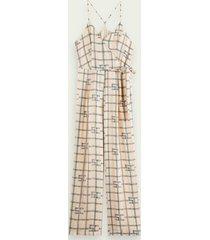 scotch & soda jumpsuit met hoge taille, wijde pijpen en print