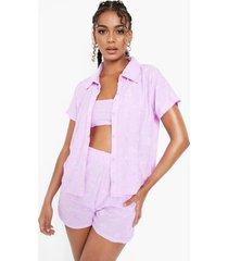 badstoffen boxy strand blouse met reliëf, lilac