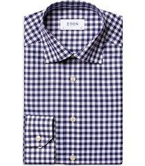 eton men's contemporary-fit gingham dress shirt - blue - size 16.5
