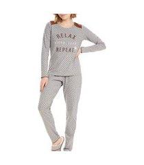 pijama feminino cor com amor 12615 cinza mescla
