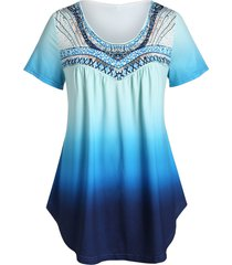 plus size ombre round collar tunic t shirt