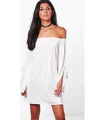 mallory off shoulder sleeve detail swing dress