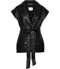 indie leather waistcoat läderrock rock svart second female