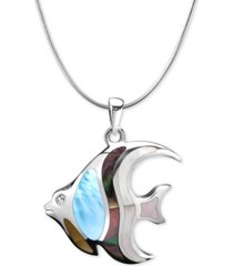 "marahlago multi-stone angelfish 21"" pendant necklace in sterling silver"